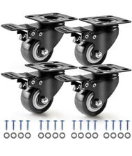 4 Pack 2 Swivel Rubber Caster Wheels Very Heavy Non Marking Quiet