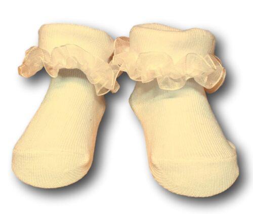 Pour Bébé Filles Coton baptême fête occasion Volants Chaussettes Taille 0-9 mois