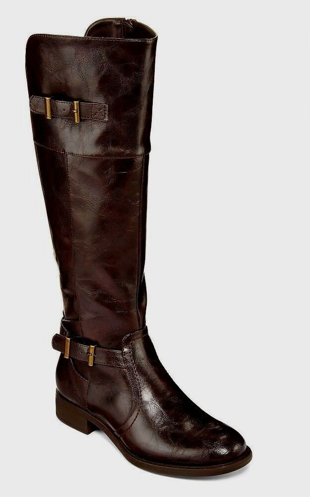 Yuu Rocio Womens Double Buckle Riding Boots Man Made size 6 NEW