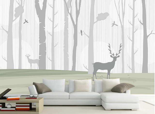 3D Nebel Wald Hirsch 74 Tapete Wandgemälde Tapete Tapeten Bild Familie DE Summer