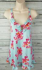 Betsey Johnson Intimates Blue Floral Cami Top Ruffle Ties in Back Womens Small