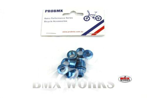 Set of 5 Old School Retro BMX ProBMX Chainring Bolt Set 5.5mm Alloy Blue