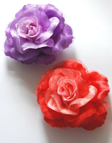 Elegant Rose Hair Clip or Pin in Purple or Red Red Hat Decoration or Hair Clip