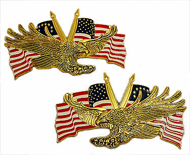 "Right / Left emblem set, screaming eagle w/ US flags 4 1/2"""