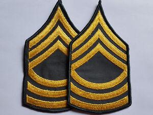 1 PAAR U.S. ARMY MASTER SERGEANT MSG GREEN DRESS UNIFORM RANK AUFNÄHER PATCH
