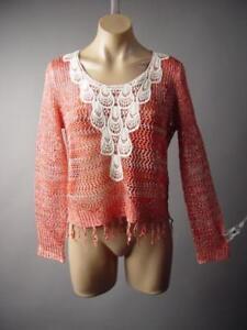 Crochet-Bib-Front-Fringe-70s-Sheer-Boxy-Pullover-Top-Blouse-252-mv-Sweater-S-M-L