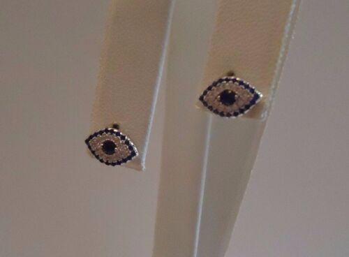 925 STERLING SILVER EVIL EYE STUD EARRINGS W// BLUE /& WHITE LAB DIAMONDS
