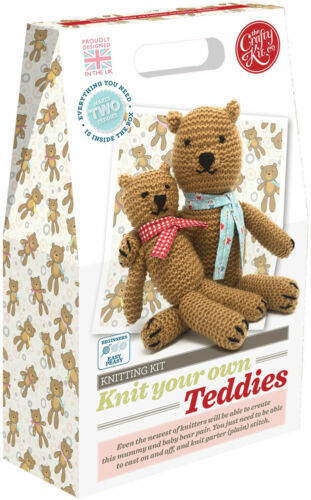 The Crafty Kit Co. Knitting Kit - Knit your own Teddies - Knitting for Beginners