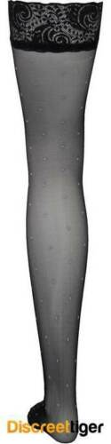 Ladies Black Stockings Thigh High with Gorgeous Polka Dot Pattern Throughout