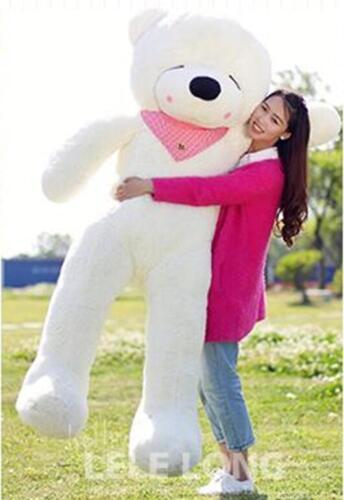 72in.Big Teddy Bear White Stuffed animals Plush Soft Toys Doll Gift EMS Shipping