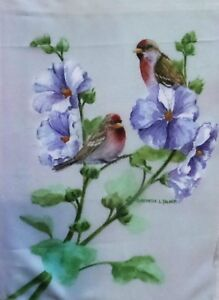 "Finch on Hollyhocks Garden Flag by Toland, 12.5"" x 18"",  #8031"