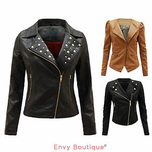 LADIES-WOMENS-PU-PVC-FAUX-LEATHER-QUILTED-ZIPPED-BOMBER-BIKER-JACKET-COAT-8-16