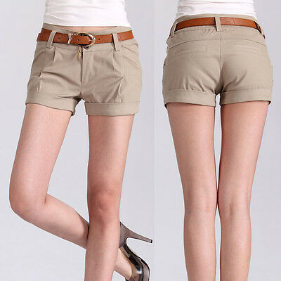 Womens Casual Shorts Crimping Short Pant Trouser W/Belt Low Waisted New Chic