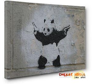 Banksy-Panda-With-Guns-Wall-Canvas-Art-Print-Grey-Black-Large-a1-a2-New