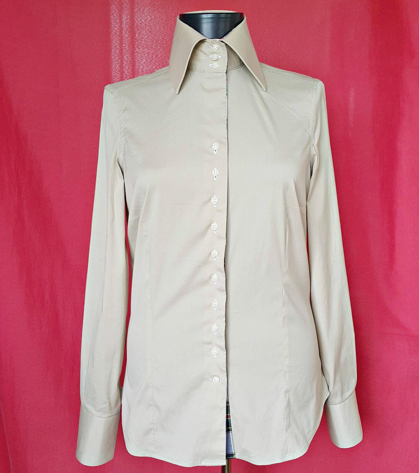 AUTHENTIC CIRCLE OF GENTLEMEN SOLID KHAKI damen DRESS SHIRT  US 6
