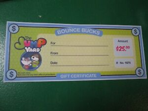 Gift Card 25 00 The Jump Yard Play Game Entertainment Certificate Royalton Oh Ebay
