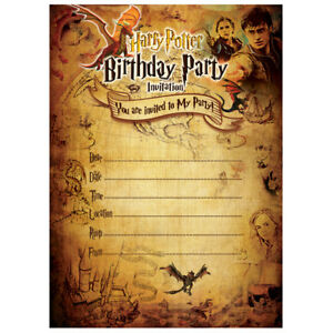 Image Is Loading Harry Potter Invitation Birthday Party Invites Cards Kids