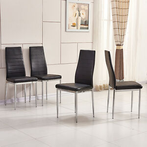 4x black modern high back faux leather foam dining chairs