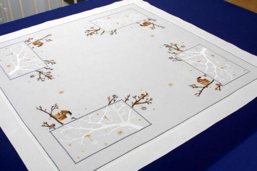 De Noël Couverture nappes travaux manuels HIVER OISEAU 90x90cm.