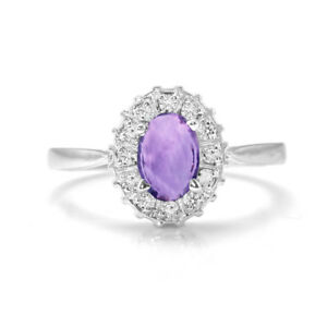 925-Sterling-Silver-Ring-Natural-Amethyst-Halo-Purple-Size-4-11