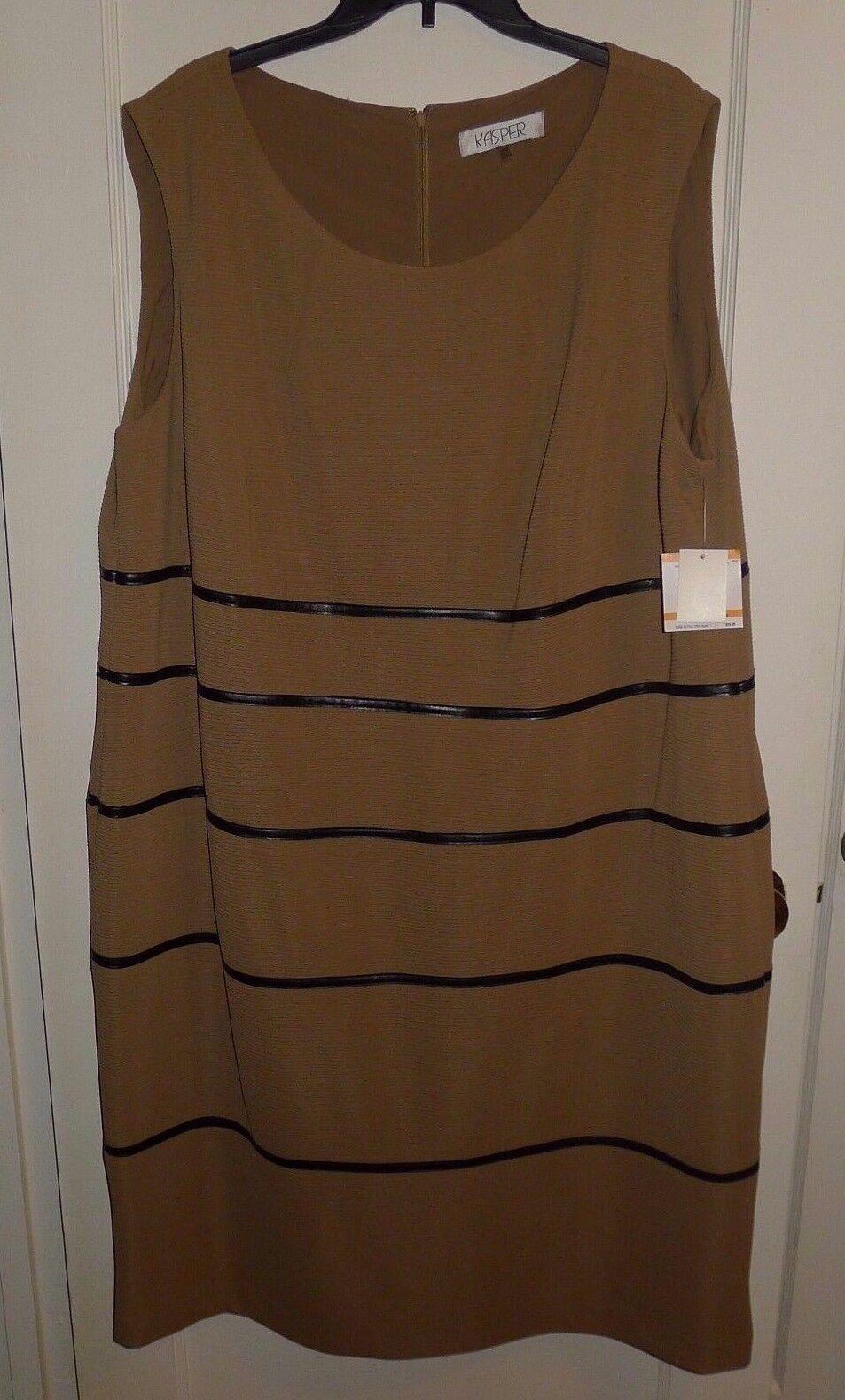 NEW W  TAGS  Macy's Kasper Classic Camel & schwarz Lined Dress Größe 24W