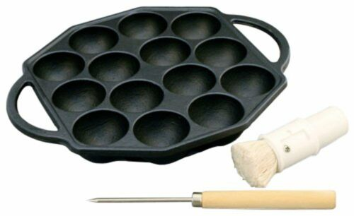 14 Holes Iron Takoyaki Pan With Pick And Oil Brush F//S w//Tracking# Japan New