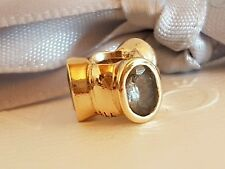 Authentic Pandora 14k 14ct Gold Aquamarine Large Lights Charm 750296AQ - Retired