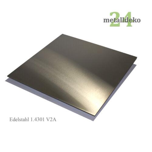 Edelstahlblech 1-3 mm V2A 1.4301 inkl Blechzuschnitt 1 1,5 2 3 mm Schutzfolie