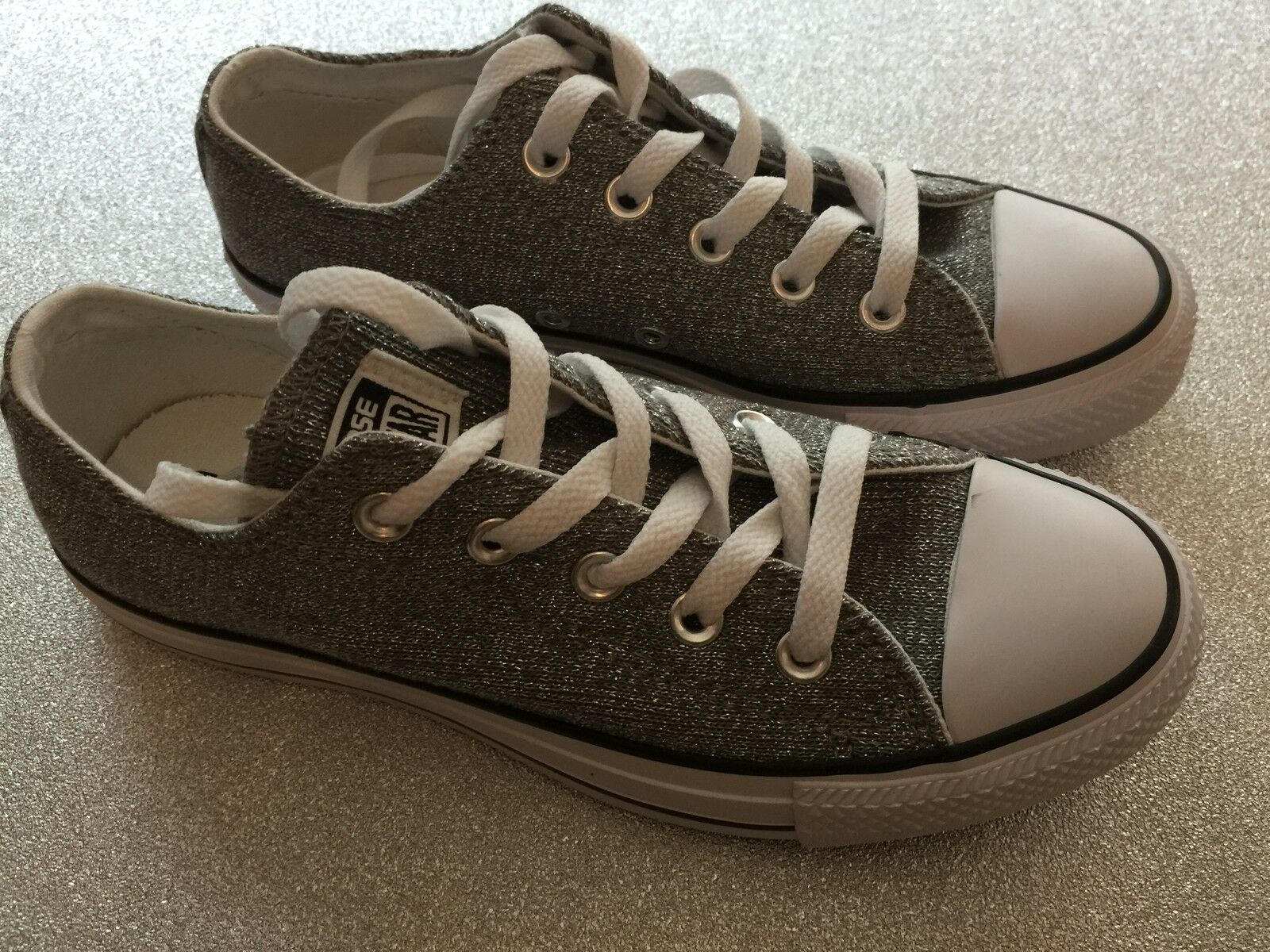 Converse All Star Trainers Size 4 Silver white Brand New Silver sparkle