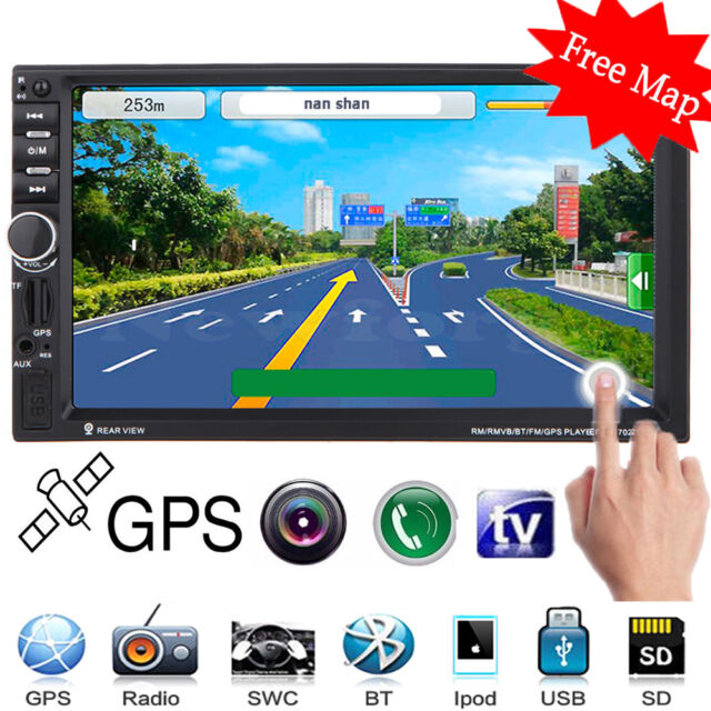 "GPS Navi 7"" Double 2 DIN Car Stereo MP5 Player FM USB SD TF Bluetooth Radio +Map"