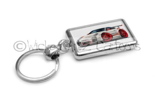 RetroArtz Cartoon Car Porsche 911 GT3 RS in White Premium Metal Key Ring