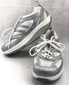 Skechers Shape-Ups Fitness Junkie Walking Fitness Shoes Silver White Women Sz 10