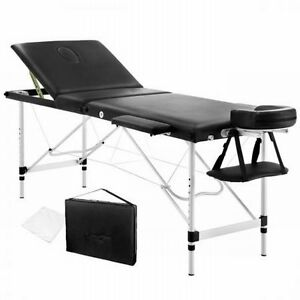 NEW-60cm-Wide-Portable-Aluminium-Frame-3-Fold-Massage-Table-Chair-Bed-Black