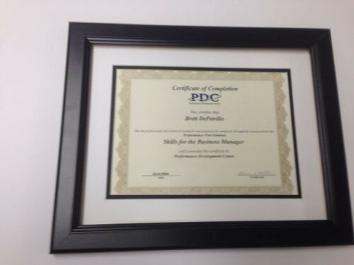 "MADE IN USA- BEST DEAL CUSTOM /> 1.5/"" Flat Black Diploma Frame w//2 Mats"