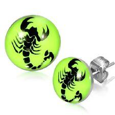 7mm Stainless Steel Neon Lemon Green Scorpion Scorpio Zodiac Earrings       s54