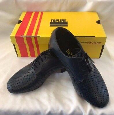 Topline Chicos Hombres Zapatos Azul Marino salón de baile latino estándar V202 Cuero Perforado