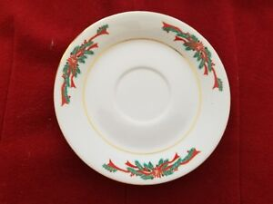 Poinsettia-amp-Ribblons-Tienshan-Christmas-Fine-China-Set-of-4-Saucers-MINT
