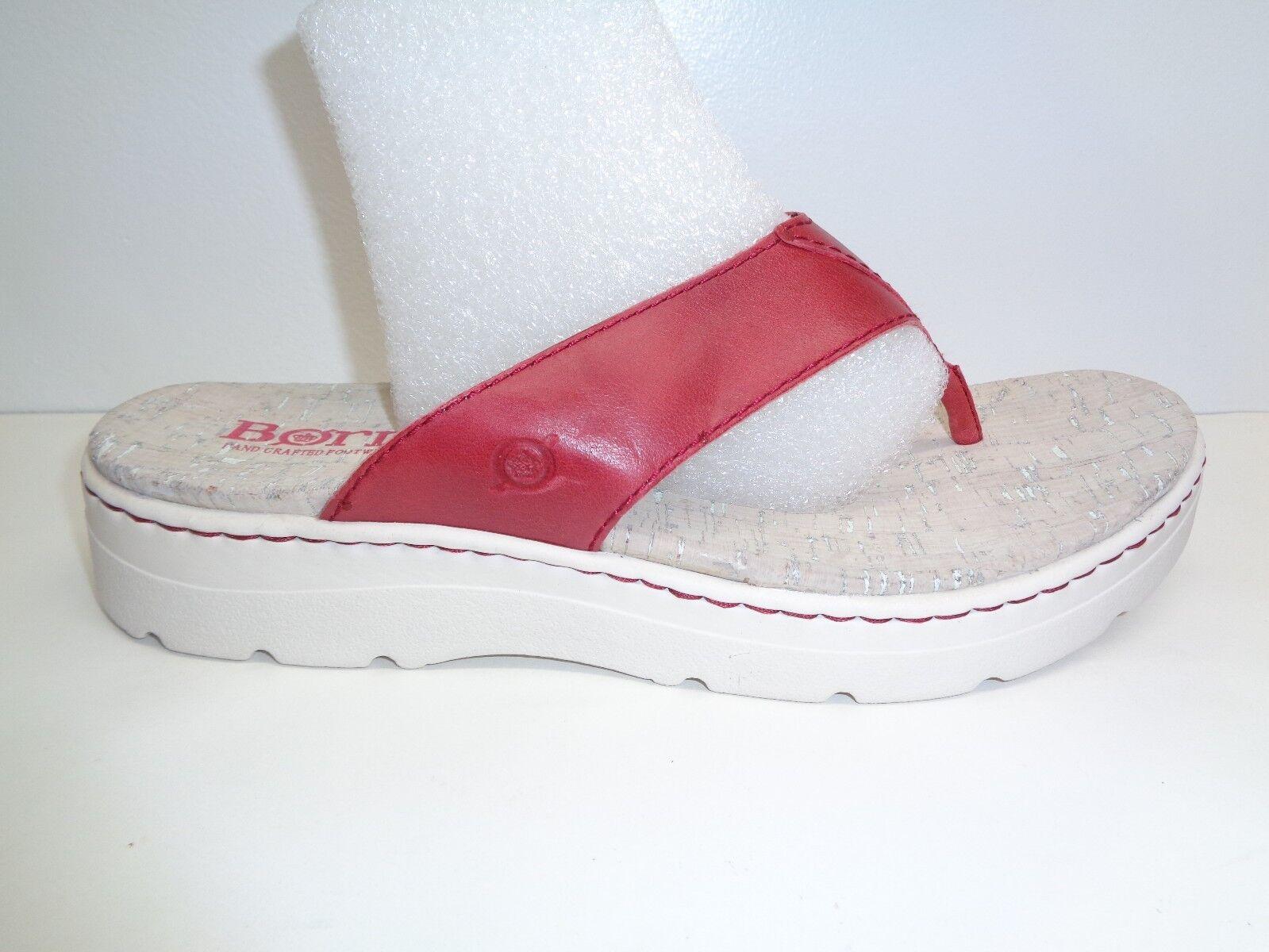 Born Size 11 M BERMUDA Red Pelle Thongs Platform Sandals New Donna Shoes