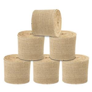 6 Pack Rustic Burlap Ribbon Fabric 4