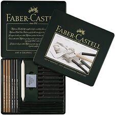 Faber-Castell PITT Monochrome Kohle Set Charcoal Tin 22 Professional Artist