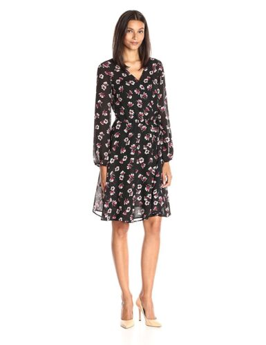 New Lark /& Ro Women/'s Printed Woven Wrap Dress Tossed Floral Design Size Small