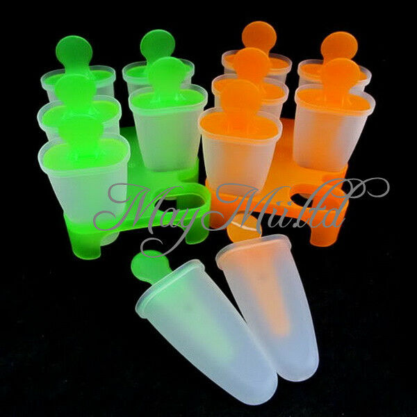 6 Cell  Ice Cream Pop Mold Popsicle Maker Lolly Mould Tray Pan Kitchen New Q