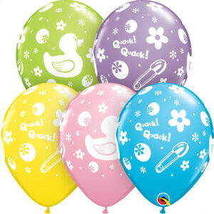 BABY-SHOWER-BALLOONS-10-x-11-034-QUALATEX-RUBBER-DUCK-BABY-SHOWER-PARTY-SUPPLIES