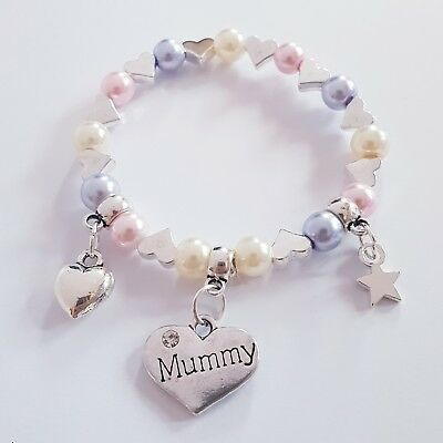 card tag Mother/'s Day Gift bracelet white mum mummy I love you organza bag