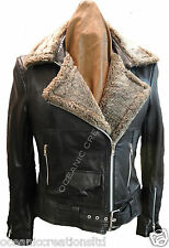 Ladies Black Biker Style Retro Real Lambskin Leather Sheepskin Jacket (8 - 20)