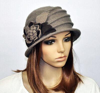 M92 Warm Winter Cute Flowers Floral Cloche Women's Beanie Brim Hat Cap 8-Colors