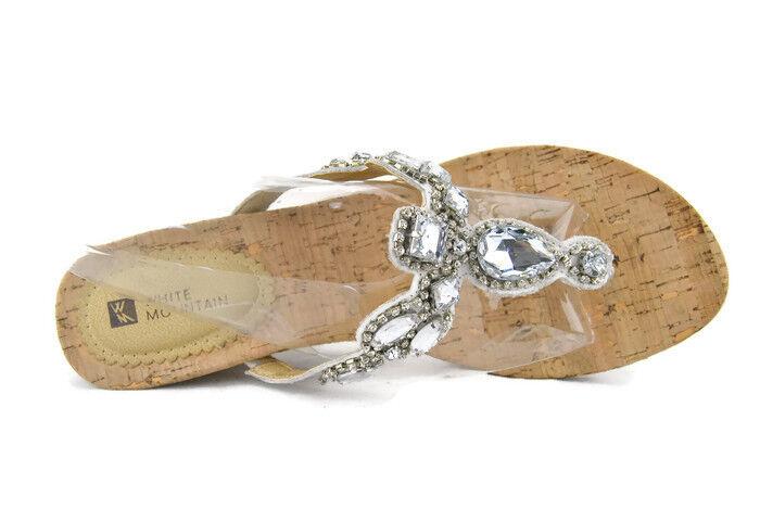 White Mountain Abra Women's Open Toe Platform Cork Wedge Sandal,Wht,9.5M,0592