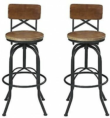 941bed8db8a24 VILAVITA Set of 2 25.6 to 29.6 Adjustable Round Wooden Bar Stools With  Retro for sale online
