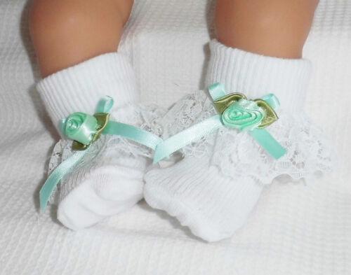 "Large Doll 2014 Dolly Togs Mint Frilly Socks Newborn Baby 20-24/"" Reborn Dolls"