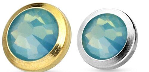 Dermal Anchor Piercing Aufsatz Chirurgenstahl Kugel Opal Micro Gold Silber CZ